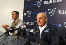 Nov. 4, 2014 - Villanova, PA, USA - Villanova basketball coach Jay Wright, left, cracks up as former Villanova coach Rollie Massimino tells a joke at a news conference prior to an exhibition game against Massimino's Northwood University team on Tuesday, Nov. 4, 2014