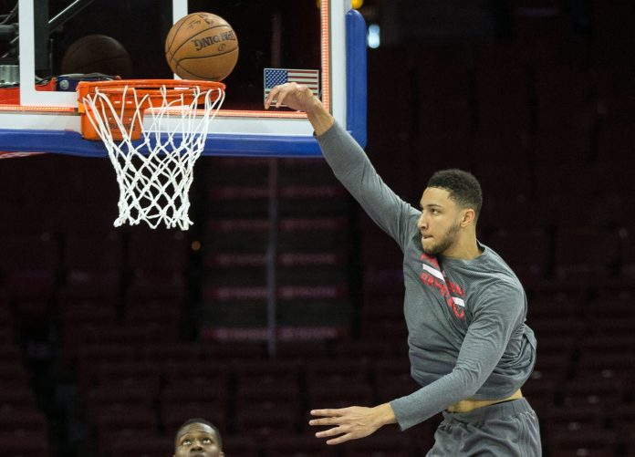 Apr 10, 2017; Philadelphia, PA, USA; Philadelphia 76ers forward Ben Simmons (25) practices before a game against the Indiana Pacers at Wells Fargo Center. Mandatory Credit: Bill Streicher-USA TODAY Sports