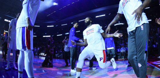 Apr 10, 2017; Auburn Hills, MI, USA; Detroit Pistons center Andre Drummond (0) is introduced before a game against the Washington Wizards at The Palace of Auburn Hills. Mandatory Credit: Tim Fuller-USA TODAY Sports