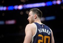 April 18, 2017; Los Angeles, CA, USA; Utah Jazz forward Gordon Hayward (20) during a stoppage in play against the Los Angeles Clippers in the second half in game two of the first round of the 2017 NBA Playoffs at Staples Center. Mandatory Credit: Gary A. Vasquez-USA TODAY Sports