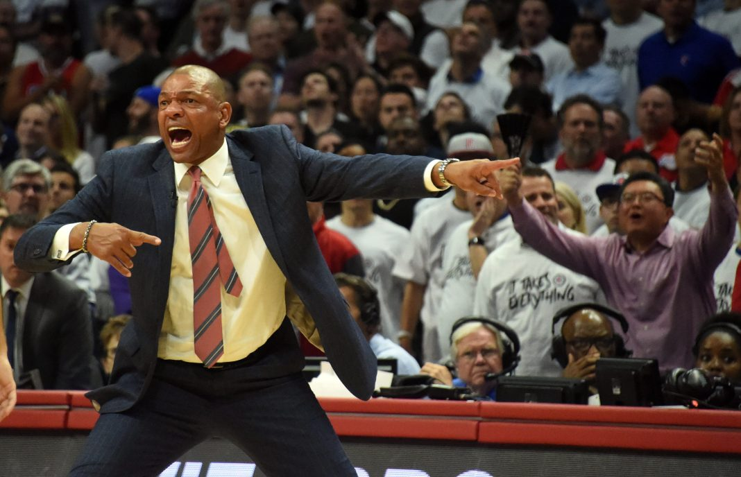 April 25, 2017; Los Angeles, CA, USA; Los Angeles Clippers head coach Doc Rivers reacts after guard Chris Paul (3) is called for a foul against Utah Jazz forward Gordon Hayward (20) during the second half in game five of the first round of the 2017 NBA Playoffs at Staples Center. Mandatory Credit: Richard Mackson-USA TODAY Sports