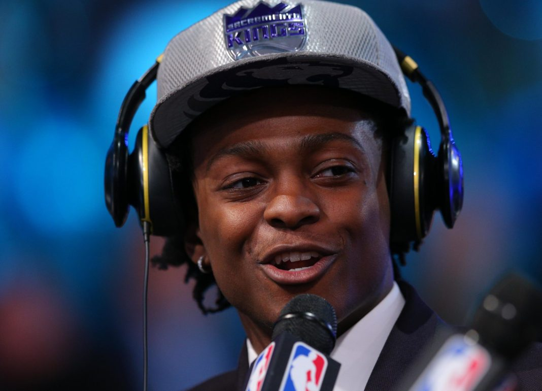 Jun 22, 2017; Brooklyn, NY, USA; De'Aaron Fox (Kentucky) is interviewed after being introduced as the number five overall pick to the Sacramento Kings in the first round of the 2017 NBA Draft at Barclays Center. Mandatory Credit: Brad Penner-USA TODAY Sports