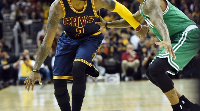 Nov 3, 2016; Cleveland, OH, USA; Cleveland Cavaliers guard Kyrie Irving (2) dribbles against Boston Celtics guard Isaiah Thomas (4) during the first quarter at Quicken Loans Arena. Mandatory Credit: Ken Blaze-USA TODAY Sports