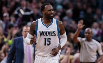Jan 1, 2017; Minneapolis, MN, USA; Minnesota Timberwolves forward Shabazz Muhammad (15) in the second quarter against the Portland Trail Blazers at Target Center. Mandatory Credit: Brad Rempel-USA TODAY Sports