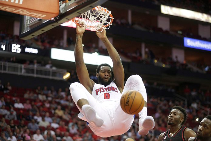 Apr 7, 2017; Houston, TX, USA; Detroit Pistons center Andre Drummond (0) dunks the ball against the Houston Rockets in the second half at Toyota Center. Detroit Pistons won 114-109 .Mandatory Credit: Thomas B. Shea-USA TODAY Sports