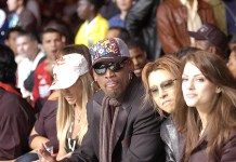 02 June 2007: Los Angeles California USA; Dennis Rodman and to his left Japanese Rock Star Yeshi during the Pro Elite Dynamite USA K1 Tournament, The first K1 mixed martial arts event from Japan to take place in the U.S , and the largest Mixed Martial arts event ever held in the United States to date, Held in Los Angeles California at the Los Angeles Coliseum.