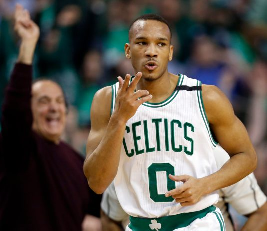 Apr 18, 2017; Boston, MA, USA; Boston Celtics guard Avery Bradley (0) reacts after making a three point basket during the first quarter in game two of the first round of the 2017 NBA Playoffs against the Chicago Bulls at TD Garden. Mandatory Credit: Greg M. Cooper-USA TODAY Sports
