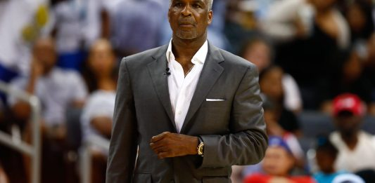 Jul 2, 2017; Charlotte, NC, USA; Killer 3s coach Charles Oakley looks on during the game against Power at Spectrum Center. Mandatory Credit: Jeremy Brevard-USA TODAY Sports