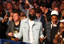 Aug 26, 2017; Las Vegas, NV, USA; Houston Rockets guard James Harden in attendance of the Floyd Mayweather Jr. fight against Conor McGregor during a boxing match at T-Mobile Arena. Mandatory Credit: Mark J. Rebilas-USA TODAY Sports