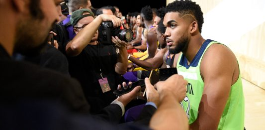 Sep 15, 2017; Culver City, CA, USA; Minnesota Timberwolves forward Karl-Anthony Towns interviews during the Nike and Sony press conference at Sony Studios. Mandatory Credit: Kelvin Kuo-USA TODAY Sports
