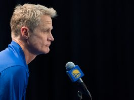 September 22, 2017; Oakland, CA, USA; Golden State Warriors head coach Steve Kerr during media day at Rakuten Performance Center. Mandatory Credit: Kyle Terada-USA TODAY Sports