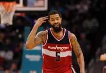 Jan 23, 2017; Charlotte, NC, USA; Washington Wizards forward Markieff Morris (5) reacts after scoring a three point basket during the second half of the game against the Charlotte Hornets at the Spectrum Center. Wizards win 109-99. Mandatory Credit: Sam Sharpe-USA TODAY Sports