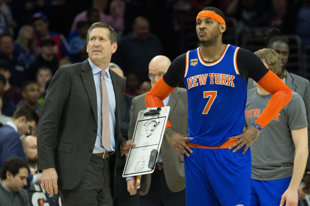 Mar 3, 2017; Philadelphia, PA, USA; New York Knicks forward Carmelo Anthony (7) looks on with head coach Jeff Hornacek during a break in the fourth quarter against the Philadelphia 76ers at Wells Fargo Center. The 76ers won 105-102. Mandatory Credit: Bill Streicher-USA TODAY Sports