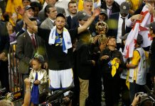 Jun 12, 2017; Oakland, CA, USA; Golden State Warriors guard Stephen Curry celebrates after defeating the Cleveland Cavaliers in game five of the 2017 NBA Finals at Oracle Arena. Mandatory Credit: Cary Edmondson-USA TODAY Sports