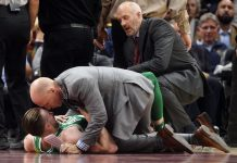 Oct 17, 2017; Cleveland, OH, USA; Boston Celtics forward Gordon Hayward (20) lays on the court after injuring his ankle during the first half against the Cleveland Cavaliers at Quicken Loans Arena. Mandatory Credit: Ken Blaze-USA TODAY Sports