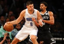 Oct 20, 2017; Brooklyn, NY, USA; Orlando Magic center Nikola Vucevic (9) controls the ball against Brooklyn Nets point guard Spencer Dinwiddie (8) during the fourth quarter at Barclays Center. Mandatory Credit: Brad Penner-USA TODAY Sports