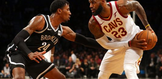 Oct 25, 2017; Brooklyn, NY, USA; Cleveland Cavaliers small forward LeBron James (23) controls the ball against Brooklyn Nets small forward Rondae Hollis-Jefferson (24) during the second quarter at Barclays Center. Mandatory Credit: Brad Penner-USA TODAY Sports