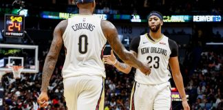 Oct 28, 2017; New Orleans, LA, USA; New Orleans Pelicans forward Anthony Davis (23) and forward DeMarcus Cousins (0) celebrate after a play against the Cleveland Cavaliers during the second half of a game at the Smoothie King Center. The Pelicans defeated the Cavaliers 123-101. Mandatory Credit: Derick E. Hingle-USA TODAY Sports