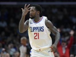 Oct 24, 2017; Los Angeles, CA, USA; Los Angeles Clippers guard Patrick Beverley (21) reacts in the fourth quarter against the Utah Jazz during an NBA basketball game at Staples Center. The Clippers defeated the Jazz 102-84. Mandatory Credit: Kirby Lee-USA TODAY Sports