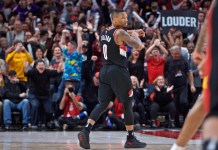 Nov 2, 2017; Portland, OR, USA; Portland Trail Blazers guard Damian Lillard (0) reacts after making a game winning three point basket against the Los Angeles Lakers during the fourth quarter at the Moda Center. Mandatory Credit: Craig Mitchelldyer-USA TODAY Sports