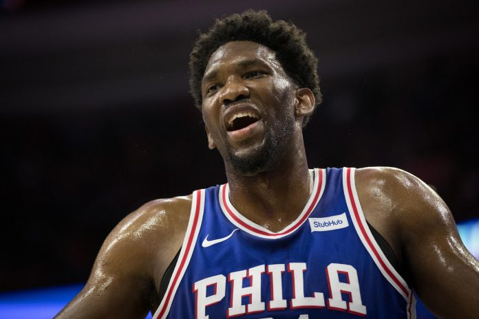 Nov 3, 2017; Philadelphia, PA, USA; Philadelphia 76ers center Joel Embiid (21) reacts in the closing minutes of the fourth quarter against the Indiana Pacers at Wells Fargo Center. Mandatory Credit: Bill Streicher-USA TODAY Sports