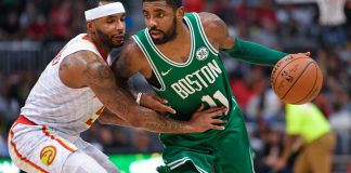 Nov 6, 2017; Atlanta, GA, USA; Boston Celtics guard Kyrie Irving (11) is guarded by Atlanta Hawks guard Malcolm Delaney (5) during the second half at Philips Arena. Mandatory Credit: Dale Zanine-USA TODAY Sports
