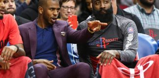 Nov 9, 2017; Houston, TX, USA; Houston Rockets guard Chris Paul (3) talks with guard James Harden (13) on the bench during the game against the Cleveland Cavaliers at Toyota Center. Mandatory Credit: Troy Taormina-USA TODAY Sports