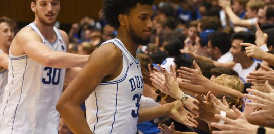 Nov 10, 2017; Durham, NC, USA; Duke Blue Devils forward Marvin Bagley III (35) shakes hands with fans after a game against the Elon Phoenix at Cameron Indoor Stadium. Duke won 97-68. Mandatory Credit: Rob Kinnan-USA TODAY Sports
