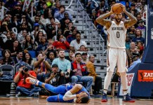 Nov 20, 2017; New Orleans, LA, USA; New Orleans Pelicans center DeMarcus Cousins (0) reacts as he is called for a foul against Oklahoma City Thunder guard Russell Westbrook (0) during the third quarter at the Smoothie King Center. Cousins was ejected from the game after an officials review of the play determined it to be a flagrant two foul. The Pelicans defeated the Thunder 114-107. Mandatory Credit: Derick E. Hingle-USA TODAY Sports