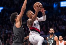 Nov 24, 2017; Brooklyn, NY, USA; Portland Trail Blazers point guard Damian Lillard (0) shoots the ball against Brooklyn Nets point guard Spencer Dinwiddie (8) defending during the second half at Barclays Center. Mandatory Credit: Gregory J. Fisher-USA TODAY SportsqNov 24, 2017; Brooklyn, NY, USA; Portland Trail Blazers point guard Damian Lillard (0) shoots the ball against Brooklyn Nets point guard Spencer Dinwiddie (8) defending during the second half at Barclays Center. Mandatory Credit: Gregory J. Fisher-USA TODAY Sports