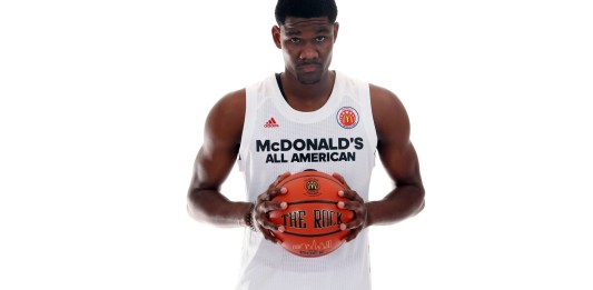 Mar 26, 2017; Chicago, IL, USA; Potential first overall pick in the 2018 NBA Draft Deandre Ayton (0) poses for a photo during the 2017 McDonalds All American Game Portrait Day at Chicago Marriott. Mandatory Credit: Brian Spurlock-USA TODAY Sports
