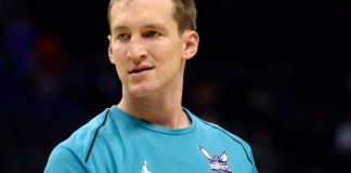 Nov 1, 2017; Charlotte, NC, USA; Charlotte Hornets forward center Cody Zeller (40) warms up before the game against the Milwaukee Bucks at the Spectrum Center. Mandatory Credit: Sam Sharpe-USA TODAY Sports