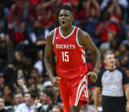 Nov 9, 2017; Houston, TX, USA; Houston Rockets center Clint Capela (15) reacts after scoring a basket during the fourth quarter against the Cleveland Cavaliers at Toyota Center. Mandatory Credit: Troy Taormina-USA TODAY Sports