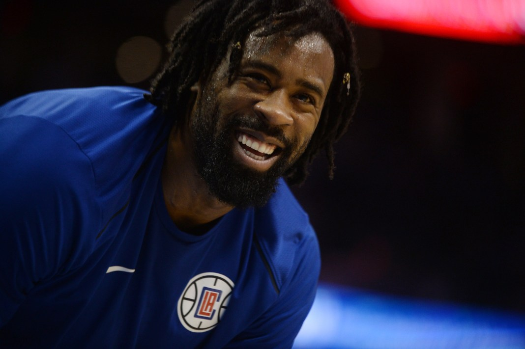 Nov 10, 2017; Oklahoma City, OK, USA; LA Clippers center DeAndre Jordan (6) speaks to a fan in game against the Oklahoma City Thunder during the second quarter at Chesapeake Energy Arena. Mandatory Credit: Mark D. Smith-USA TODAY Sports