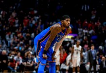 Nov 20, 2017; New Orleans, LA, USA; Oklahoma City Thunder forward Paul George (13) takes a break against the New Orleans Pelicans during the second half at the Smoothie King Center. The Pelicans defeated the Thunder 114-107. Mandatory Credit: Derick E. Hingle-USA TODAY Sports