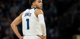 Nov 28, 2017; Minneapolis, MN, USA; Minnesota Timberwolves guard Tyus Jones (1) looks on during the third quarter against the Washington Wizards at Target Center. Mandatory Credit: Brace Hemmelgarn-USA TODAY Sports