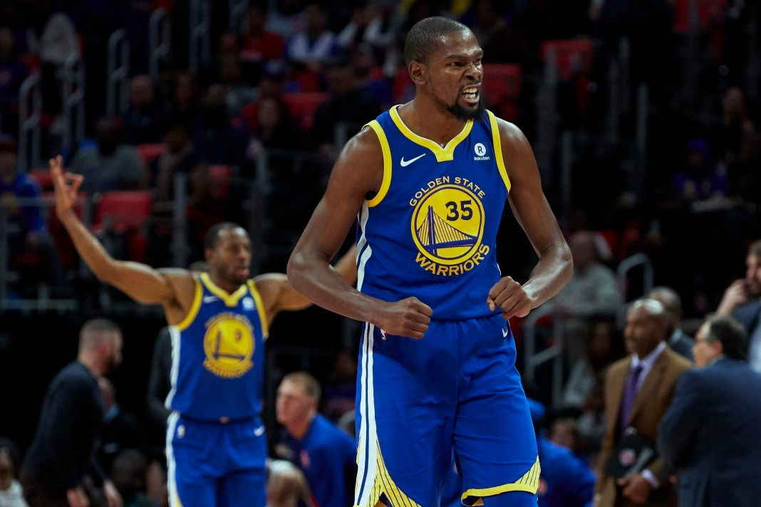 Dec 8, 2017; Detroit, MI, USA; Golden State Warriors forward Kevin Durant (35) celebrates after the third quarter against the Detroit Pistons at Little Caesars Arena. Mandatory Credit: Rick Osentoski-USA TODAY Sports