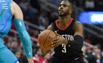 Dec 13, 2017; Houston, TX, USA; Houston Rockets guard Chris Paul (3) looks to shoot during the second quarter against the Charlotte Hornets at Toyota Center. Mandatory Credit: Shanna Lockwood-USA TODAY Sports