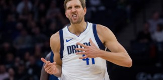 Dec 10, 2017; Minneapolis, MN, USA; Dallas Mavericks forward Dirk Nowitzki (41) celebrates his basket in the fourth quarter against the Minnesota Timberwolves at Target Center. Mandatory Credit: Brad Rempel-USA TODAY Sports