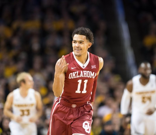 Dec 16, 2017; Wichita, KS, USA; Oklahoma Sooners guard Trae Young (11) celebrates after a three point basket against the Wichita State Shockers at Charles Koch Arena. Mandatory Credit: Kelly Ross-USA TODAY Sports Images