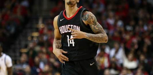 Jan 4, 2018; Houston, TX, USA; Houston Rockets guard Gerald Green (14) reacts after making a basket during the third quarter against the Golden State Warriors at Toyota Center. Mandatory Credit: Troy Taormina-USA TODAY Sports