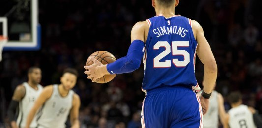 Jan 3, 2018; Philadelphia, PA, USA; Philadelphia 76ers guard Ben Simmons (25) dribbles up court against the San Antonio Spurs at Wells Fargo Center. Mandatory Credit: Bill Streicher-USA TODAY Sports