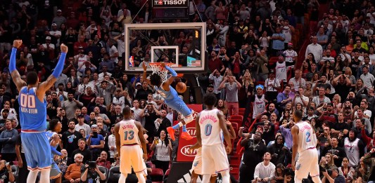 Jan 25, 2018; Miami, FL, USA; Sacramento Kings guard De'Aaron Fox (5) dunks the ball to score the game winning basket over the Miami Heat during the second half at American Airlines Arena. Mandatory Credit: Jasen Vinlove-USA TODAY Sports