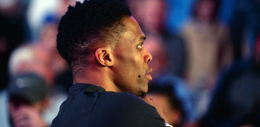 Jan 28, 2018; Oklahoma City, OK, USA; Oklahoma City Thunder guard Russell Westbrook (0) is seen on the court prior to player introductions before action against the Philadelphia 76ers at Chesapeake Energy Arena. Mandatory Credit: Mark D. Smith-USA TODAY Sports