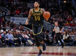 Jan 26, 2018; Chicago, IL, USA; Los Angeles Lakers forward Brandon Ingram (14) brings the ball up court against the Chicago Bulls during the second half at United Center. Mandatory Credit: Kamil Krzaczynski-USA TODAY Sports