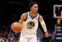 Nov 4, 2017; Denver, CO, USA; Golden State Warriors guard Patrick McCaw (0) controls the ball in the fourth quarter against the Denver Nuggets at the Pepsi Center. Mandatory Credit: Isaiah J. Downing-USA TODAY Sports
