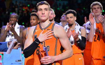 Feb 16, 2018; Los Angeles, CA, USA; World guard Bogdan Bogdanovic (8) reacts after being named MVP of the Rising Stars Challenge game against USA following the second half at Staples Center. Mandatory Credit: Gary A. Vasquez-USA TODAY Sports