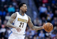 Jan 24, 2017; Denver, CO, USA; Denver Nuggets forward Wilson Chandler (21) controls the ball in the third quarter against the Utah Jazz at the Pepsi Center. The Nuggets defeated the Jazz 103-93. Mandatory Credit: Isaiah J. Downing-USA TODAY Sports