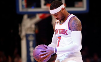 Mar 27, 2017; New York, NY, USA; New York Knicks forward Carmelo Anthony (7) prior to taking on the Detroit Piston at Madison Square Garden. Mandatory Credit: Adam Hunger-USA TODAY Sports