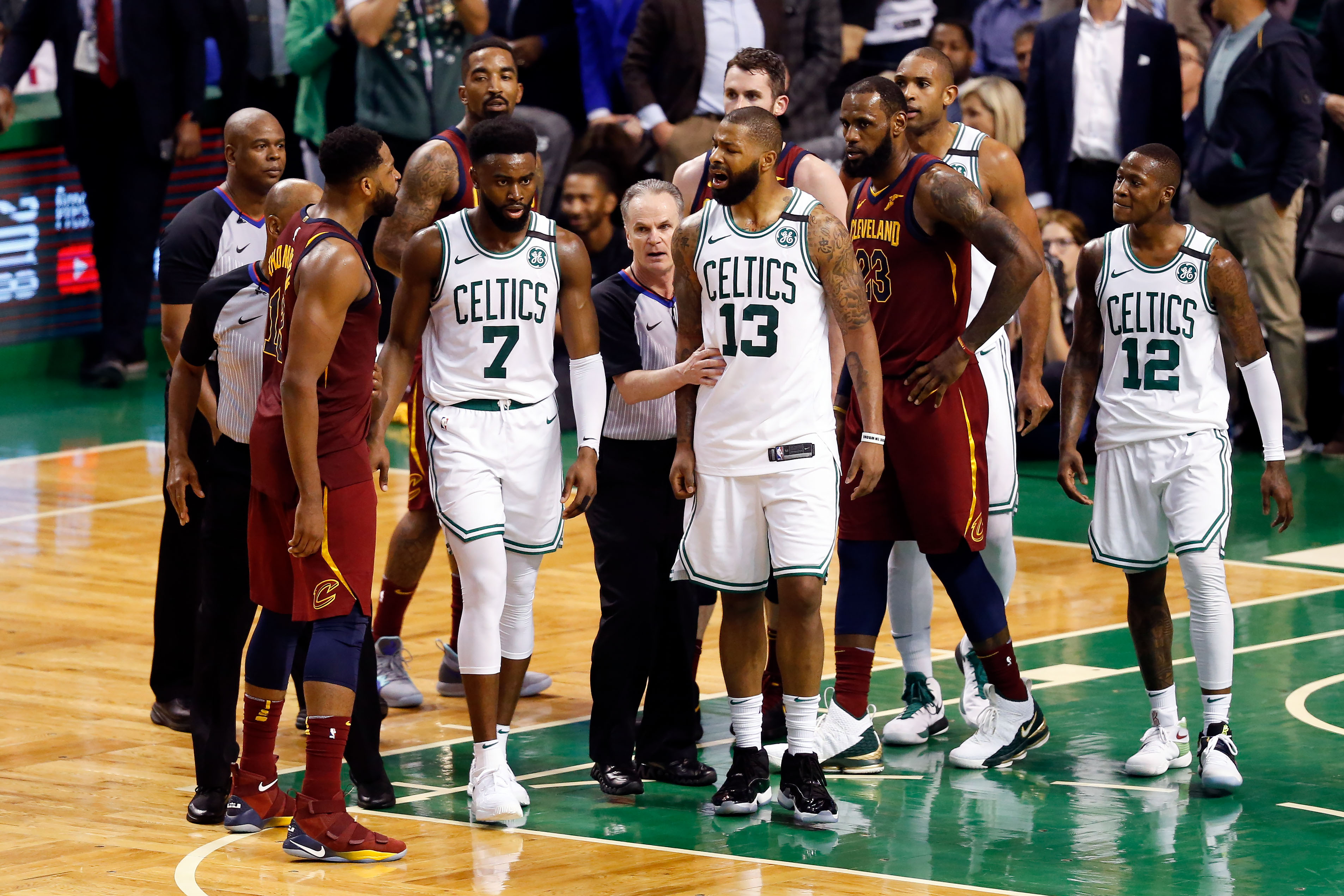 Boston MA USA Cleveland Cavaliers center Tristan Thompson and Boston Celtics forward Marcus Morris exchange words after a play during the third quarter of game two of the Eastern conference finals of the 2018 NBA Playoffs at TD